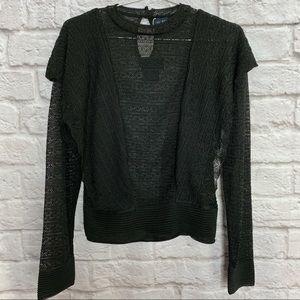 Zara Knit Italian Yarn Ruffle Lace Black Top